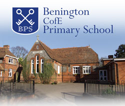 Benington C of E primary school logo, image of school building with black gates in front of it
